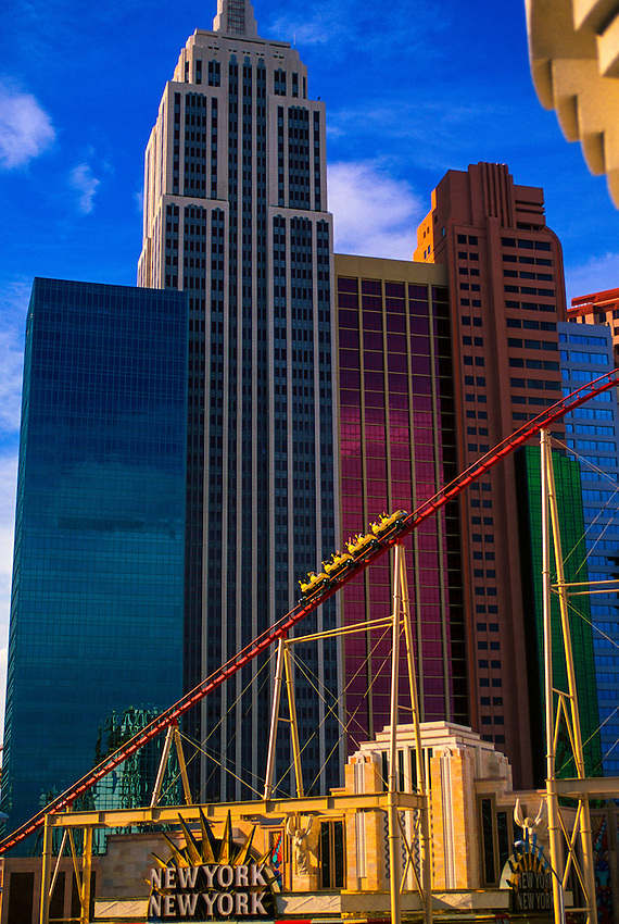 The Manhattan Express rollercoaster and the New York New York Hotel/Casino, Las Vegas, Nevada
