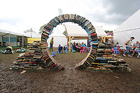 Monday 26 May 2014, Hay on Wye, UK<br /> Pictured: A sculpture made out of used books.<br /> Re: The Hay Festival, Hay on Wye, Powys, Wales UK.