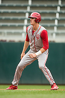 Logan Sowers (2) of the Indiana Hoosiers runs during a 2015 Big Ten Conference Tournament game between the Michigan Wolverines and Indiana Hoosiers at Target Field on May 20, 2015 in Minneapolis, Minnesota. (Brace Hemmelgarn/Four Seam Images)