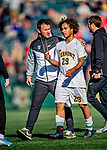 26 October 2019: University of Vermont Catamount Head Coach Rob Dow chats with Forward JoJo Moulton-Condiotti, a Freshman from Brooklyn, NY, after first half action against the University of Massachusetts Lowell River Hawks at Virtue Field in Burlington, Vermont. The Catamounts rallied to defeat the River Hawks 2-1, propelling the Cats to the America East Division 1 conference playoffs. Mandatory Credit: Ed Wolfstein Photo *** RAW (NEF) Image File Available ***
