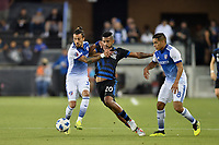 San Jose, CA - Wednesday August 29, 2018: Maxi Urruti, Anibal Godoy, Victor Ulloa during a Major League Soccer (MLS) match between the San Jose Earthquakes and FC Dallas at Avaya Stadium.