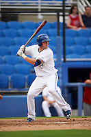 Dunedin Blue Jays third baseman Mitch Nay (28) at bat during the first game of a doubleheader against the Palm Beach Cardinals on July 31, 2015 at Florida Auto Exchange Stadium in Dunedin, Florida.  Dunedin defeated Palm Beach 7-0.  (Mike Janes/Four Seam Images)