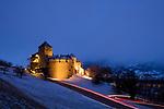 Winter, snow, Schnee, Schloss, Castle of Vaduz, Rheintal, Rhine-valley, Liechtenstein.