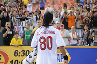 AC Milan forward Ronaldinho (80) salutes the fans after the game.  DC United defeated AC. Milan 3-2 at RFK Stadium, Wednesday May 26, 2010.