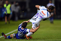 Santiago Cordero of Exeter Chiefs is tackled by Freddie Burns of Bath Rugby. Gallagher Premiership match, between Bath Rugby and Exeter Chiefs on October 5, 2018 at the Recreation Ground in Bath, England. Photo by: Patrick Khachfe / Onside Images