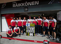 Kimi RÄIKKÖNEN (FIN) (ALFA ROMEO RACING) and team during the Bahrain Grand Prix at Bahrain International Circuit, Sakhir,  on 31 March 2019. Photo by Vince  Mignott.