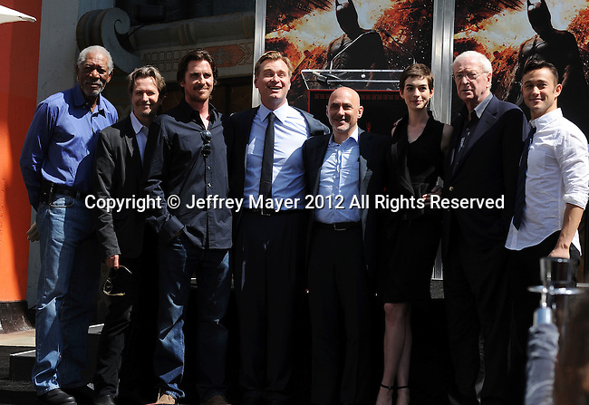 HOLLYWOOD, CA - JULY 07: Morgan Freeman, Gary Oldman, Christian Bale, Christopher Nolan, Jeff Robinov, Anne Hathaway, Michael Caine, Joseph Gordon-Levitt, attend the Christopher Nolan Hand & Footprint Ceremony At Grauman's Chinese Theatre on July 7, 2012 in Hollywood, California.