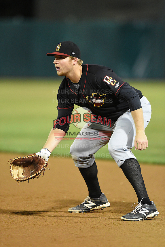Quad Cities River Bandits first baseman A.J. Reed (18) during a game against the Kane County Cougars on August 14, 2014 at Third Bank Ballpark in Geneva, Illinois.  Kane County defeated Quad Cities 4-1.  (Mike Janes/Four Seam Images)
