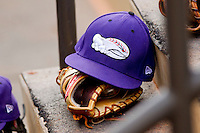 A Winston-Salem Dash cap sits on the steps of the dugout at BB&T Ballpark on May 7, 2011 in Winston-Salem, North Carolina.   Photo by Brian Westerholt / Four Seam Images