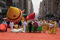 NEW YORK, NY - NOVEMBER 24: A balloon is deflated after the 90th annual Macy's Thanksgiving Day Parade on November 24, 2016 in New York City.  Photo by VIEWpress/Maite H. Mateo.