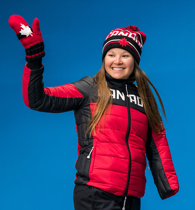 PyeongChang 16/3/2018 - Brittany Hudak collects his bronze medal in the women's biathlon 12.5km standing during the medal ceremony at the PyeongChang Medals Plaza during the 2018 Winter Paralympic Games in Pyeongchang, Korea. Photo: Dave Holland/Canadian Paralympic Committee