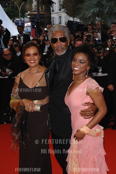 Actor MORGAN FREEMAN & family at the Awards Ceremony & screening of Chromophobia at the 58th Annual Film Festival de Cannes..May 21, 2005 Cannes, France..© 2005 Paul Smith / Featureflash