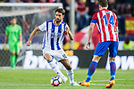 Xabi Prieto (L) of Real Sociedad vies for the ball with Gabriel Fernandez Arenas, Gabi (R), of Atletico de Madrid  during their La Liga match between Atletico de Madrid vs Real Sociedad at the Vicente Calderon Stadium on 04 April 2017 in Madrid, Spain. Photo by Diego Gonzalez Souto / Power Sport Images