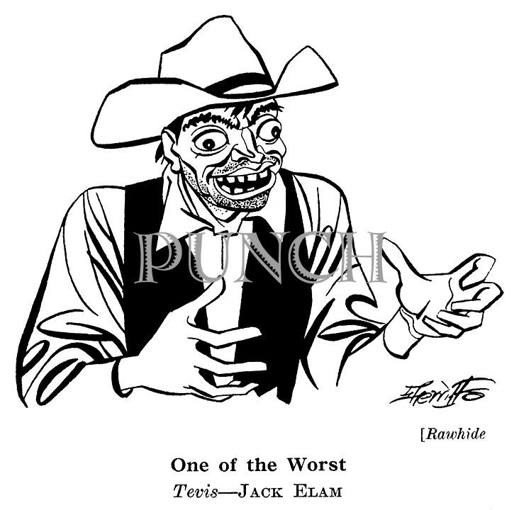 Punch cartoons by Robert Sherriffs..Film Review ; ..Rawhide ; Jack Elam..