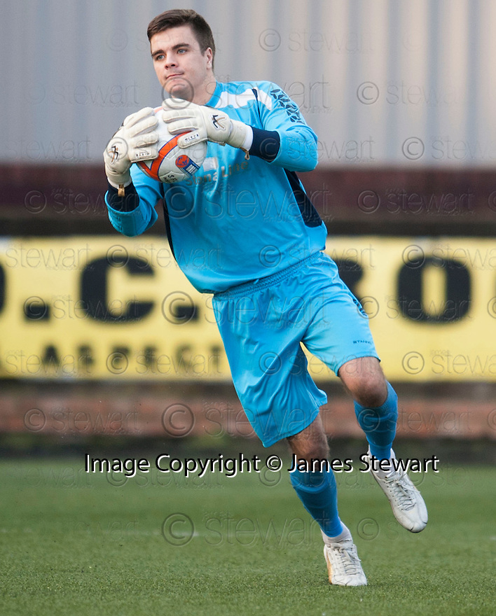 Stenny keeper Callum Reidford who pulled of a number of good saves during the match.