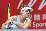 Caroline Dolehide of USA in action during the Prudential Hong Kong Tennis Open 2018 match between Caroline Dolehide (USA) vs Ana Bogdan (ROU) at Victoria Park Tennis Stadium on October 09 2018 in Hong Kong, Hong Kong. Photo by Marcio Rodrigo Machado / Power Sport Images