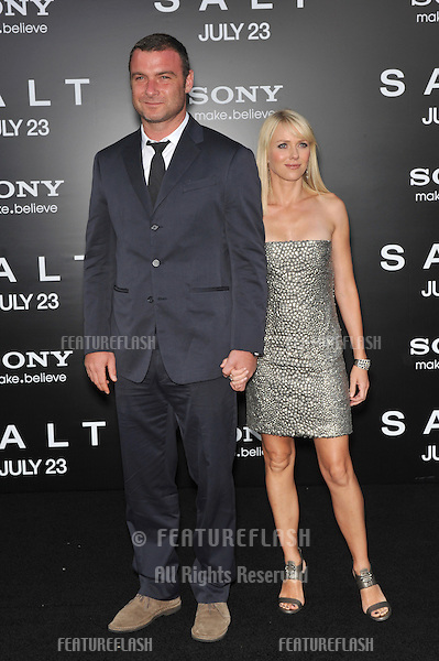 """Liev Schreiber & fiancée Naomi Watts at the premiere of his new movie """"Salt"""" at Grauman's Chinese Theatre, Hollywood..July 19, 2010  Los Angeles, CA.Picture: Paul Smith / Featureflash"""