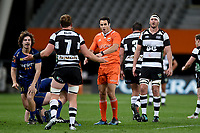 Referee Ben O'Keeffe awards a penalty against Gareth Evans during the 2018 Mitre 10 Cup Championship rugby semifinal between Canterbury and Counties Manukau at Forsyth Barr Stadium in Dunedin, New Zealand on Saturday, 20 October 2018. Photo: Joe Allison / lintottphoto.co.nz