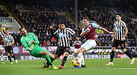 Burnley's Sam Vokes  misses an attempt at goal<br /> <br /> Photographer Rachel Holborn/CameraSport<br /> <br /> The Premier League - Burnley v Newcastle United - Monday 26th November 2018 - Turf Moor - Burnley<br /> <br /> World Copyright &copy; 2018 CameraSport. All rights reserved. 43 Linden Ave. Countesthorpe. Leicester. England. LE8 5PG - Tel: +44 (0) 116 277 4147 - admin@camerasport.com - www.camerasport.com