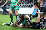 Flanker Eoin McKeon dives over to score Connachts only try of the match.<br /> Guiness Pro12<br /> Ospreys v Connacht<br /> Liberty Stadium<br /> 31.10.14<br /> &copy;Steve Pope-SPORTINGWALES
