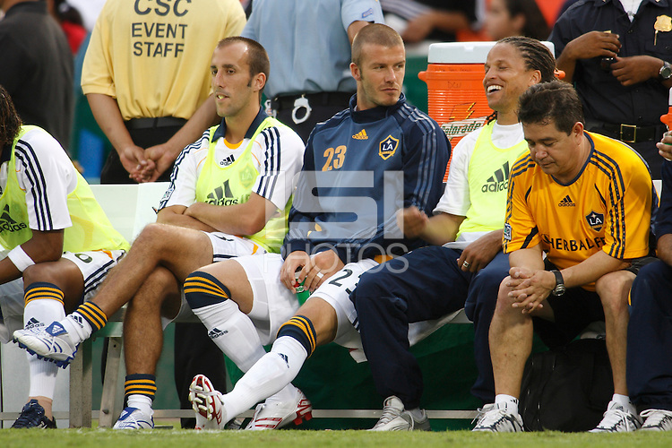 Los Angeles Galaxy midfielder (23) David Beckham talks with former US National Team member Cobi Jones during the first half. D. C. United defeated the Los Angeles Galaxy 1-0 in an MLS regular season match at Robert F. Kennedy Memorial Stadium, Washington, D. C., on August 9, 2007.