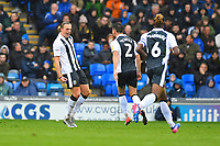 Tom Eaves of Gillingham left celebrates with Luke O'Neill of Gillingham after scoring the first goal during Portsmouth vs Gillingham, Sky Bet EFL League 1 Football at Fratton Park on 6th October 2018