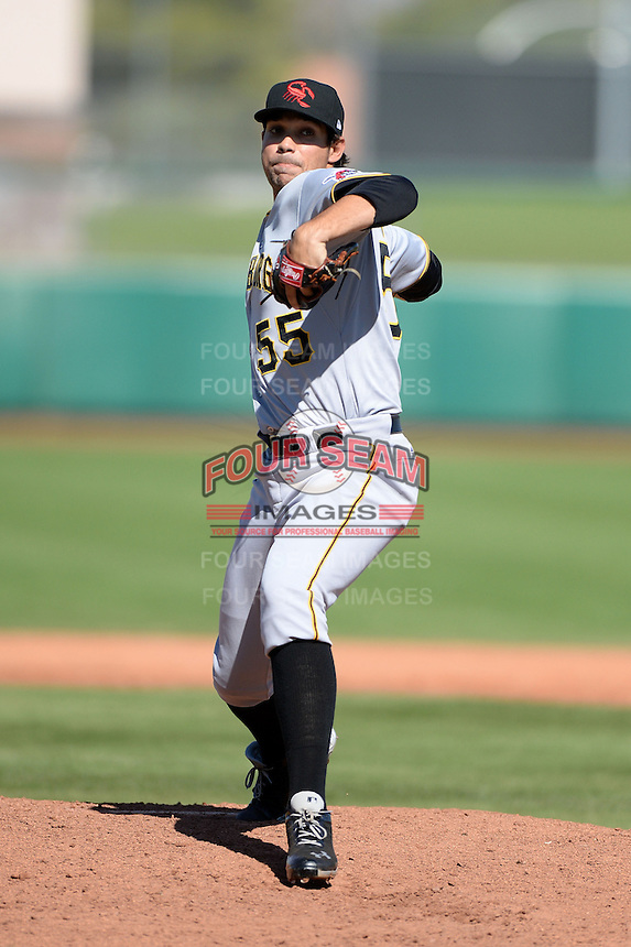 Scottsdale Scorpions pitcher Matt Benedict (55), of the Pittsburgh Pirates organization, during an Arizona Fall League game against the Mesa Solar Sox on October 15, 2013 at HoHoKam Park in Mesa, Arizona.  Mesa defeated Scottsdale 7-4.  (Mike Janes/Four Seam Images)