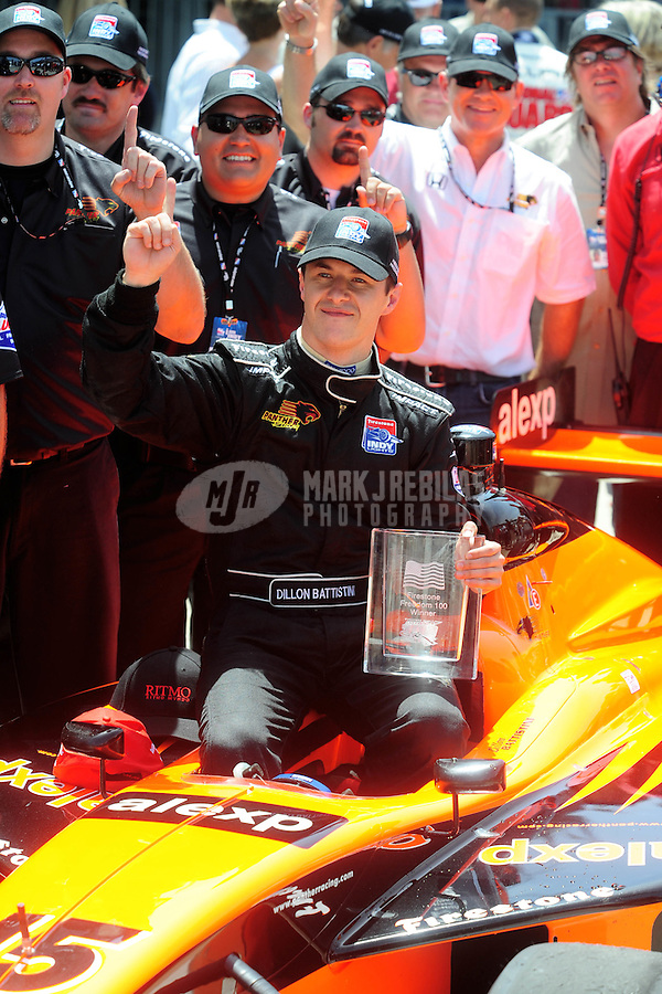 May 24, 2008; Indianapolis, IN, USA; Indy Light Series driver Dillon Battistini celebrates in victory lane after winning the Freedom 100 at the Indianapolis Motor Speedway. Mandatory Credit: Mark J. Rebilas-
