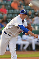 Ogden Raptors starting pitcher Scott Barlow (45) makes a pickoff throw to first base against the Helena Brewers at Lindquist Field on July 23, 2013 in Ogden Utah. (Stephen Smith/Four Seam Images)