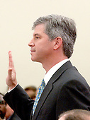 "Washington, DC - February 7, 2002 --Andrew S. Fastow, former Chief Financial Officer, Enron Corporation is sworn to testify before a hearing of the United States House of Representatives Energy and Commerce Subcommittee on Oversight and Investigations on ""The Financial Collapse of the Enron Corporation""..Credit: Ron Sachs / CNP"