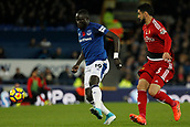 5th November 2017, Goodison Park, Liverpool, England; EPL Premier League Football, Everton versus Watford; Oumar Niasse of Everton holds off the challenge of Miguel Angel Britos of Watford