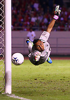 SAN JOSE, COSTA RICA - September 06, 2013: Keylor Navas (1) of the Costa Rica MNT makes a save during a 2014 World Cup qualifying match at the National Stadium in San Jose on September 6. USA lost 3-1.