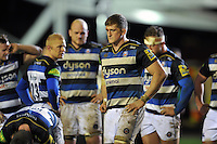 Stuart Hooper of Bath Rugby looks dejected after the match. Aviva Premiership match, between Leicester Tigers and Bath Rugby on November 29, 2015 at Welford Road in Leicester, England. Photo by: Patrick Khachfe / Onside Images