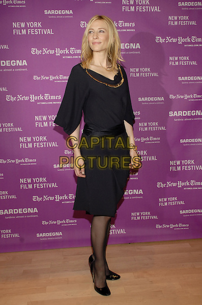 "CATE BLANCHETT.The New York Film Festival Screening of the Weinstein Company's film ""I'm Not There"" at Time Warner Center, New York, New York, USA..October 4th, 2007.full length black gold trim dress shoes chain bracelet sash.CAP/ADM/BL.©Bill Lyons/AdMedia/Capital Pictures. *** Local Caption ***"