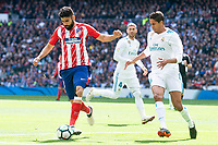 Real Madrid Raphael Varane and Atletico de Madrid Diego Costa during La Liga match between Real Madrid and Atletico de Madrid at Santiago Bernabeu Stadium in Madrid, Spain. April 08, 2018. (ALTERPHOTOS/Borja B.Hojas) /NortePhoto NORTEPHOTOMEXICO