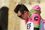Rigoberto Uran (COL) EF-Drapac-Cannondale at sign on before the start of the 112th edition of Il Lombardia 2018, the final monument of the season running 241km from Bergamo to Como, Lombardy, Italy. 13th October 2018.<br /> Picture: Eoin Clarke | Cyclefile<br /> <br /> <br /> All photos usage must carry mandatory copyright credit (© Cyclefile | Eoin Clarke)