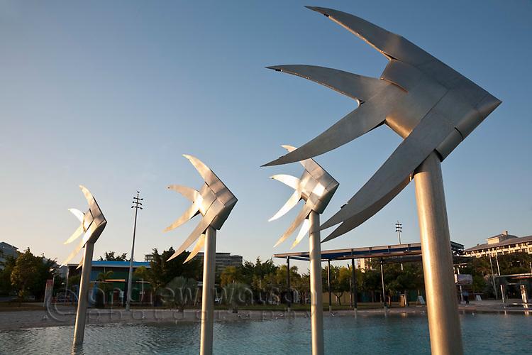 Fish sculpture at the Esplanade lagoon in Cairns, Queensland, Australia