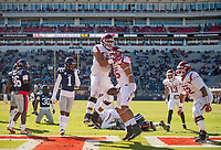 Hawgs Illustrated/BEN GOFF <br /> Colton Jackson, Arkansas tackle, congratulates Cheyenne O'Grady (85), Arkansas tight end, after he scored a touchdown in the third quarter against Ole Miss Saturday, Oct. 28, 2017, at Vaught-Hemingway Stadium in Oxford, Miss.