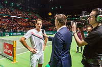 Rotterdam, The Netherlands, 17 Februari, 2018, ABNAMRO World Tennis Tournament, Ahoy, Tennis, Roger Federer (SUI) is being interviewed by Edward van Cuilenborg<br /> <br /> Photo: www.tennisimages.com