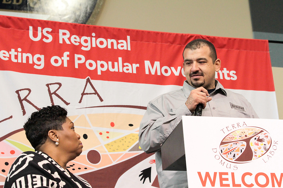 Jose Arellano, Homeboy Industries, speaks as part of the U.S. Regional World Meeting of Popular Movement's plenary panel on racism.