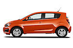 Driver side profile view of a 2013 Chevrolet Sonic LT 5 Door.