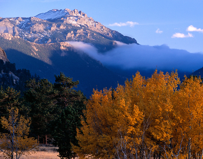 Twin Sisters, fall, color, low clouds, Rocky Mountain National Park, Colorado, USA