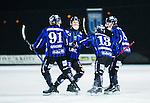 Uppsala 2014-11-15 Bandy Elitserien IK Sirius - IFK V&auml;nersborg :  <br /> Sirius Ilja Grachev har reducerat till 2-3 och gratuleras av lagkamrater Joel Wigren , Tobias Andersson och Niklas Eriksson under matchen mellan IK Sirius och IFK V&auml;nersborg <br /> (Foto: Kenta J&ouml;nsson) Nyckelord:  Bandy Elitserien Uppsala Studenternas IP IK Sirius IKS IFK V&auml;nersborg  jubel gl&auml;dje lycka glad happy