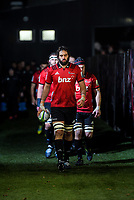 Crusaders captain Sam Whitelock leads his team out for the 2019 Super Rugby final between the Crusaders and Jaguares at Orangetheory Stadium in Christchurch, New Zealand on Saturday, 6 July 2019. Photo: Dave Lintott / lintottphoto.co.nz