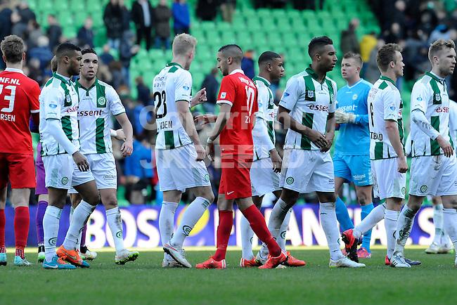 GRONINGEN - Voetbal, FC Groningen - FC Twente, Eredivisie, Euroborg, seizoen 2014-2015, 22-03-2015,  teleurstelling bij Groningen na afloop