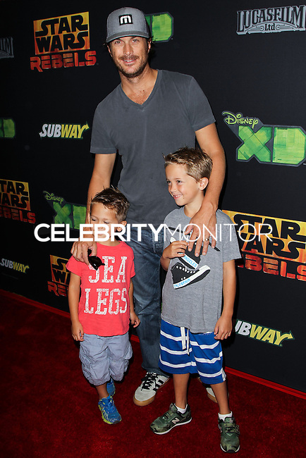 """CENTURY CITY, CA, USA - SEPTEMBER 27: Oliver Hudson arrives at the Los Angeles Screening Of Disney XD's """"Star Wars Rebels: Spark Of Rebellion"""" held at the AMC Century City 15 Theatre on September 27, 2014 in Century City, California, United States. (Photo by Celebrity Monitor)"""