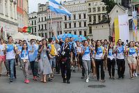 World Youth day Krakow 2016<br /> Un gruppo di giovani argentini con bandiera