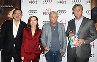 "Hollywood, CA - NOVEMBER 13: Michael Barker, Isabelle Huppert, Paul Verhoeven, Tom Bernard, At AFI FEST 2016 Presented By Audi - A Tribute To Isabelle Huppert And Gala Screening Of ""Elle"" At The Egyptian Theatre, California on November 13, 2016. Credit: Faye Sadou/MediaPunch"
