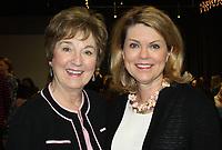 NWA Democrat-Gazette/CARIN SCHOPPMEYER Gaye Cypert (left) and Julie Roblee help support Komen Ozark at the Promise Circle luncheon.