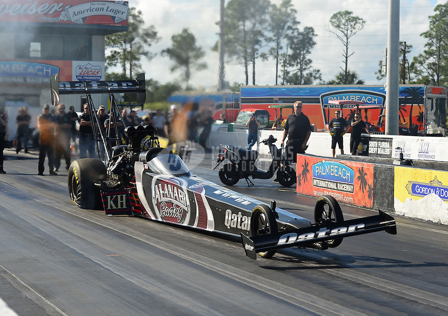 Jan. 16, 2013; Jupiter, FL, USA: NHRA top top fuel dragster driver Shawn Langdon during testing at the PRO Winter Warmup at Palm Beach International Raceway.  Mandatory Credit: Mark J. Rebilas-